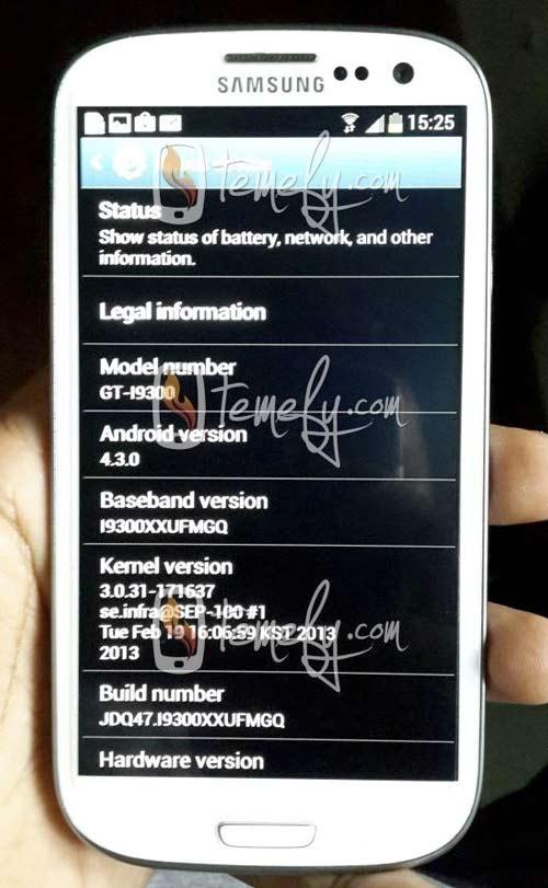 Imagen del Samsung Galaxy S3 con Android 4.3 Jelly Bean