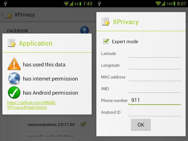 Capturas de pantalla de XPrivacy