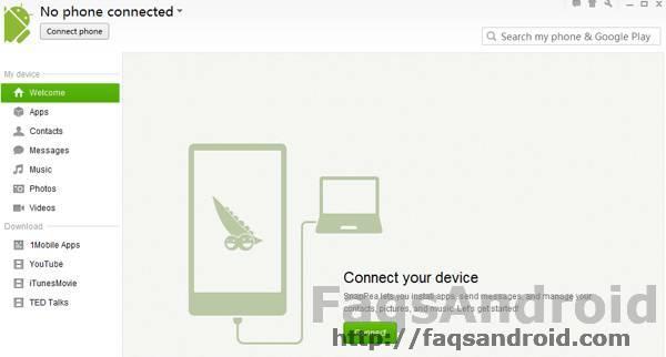 Conectar teléfono en Snappea para Windows