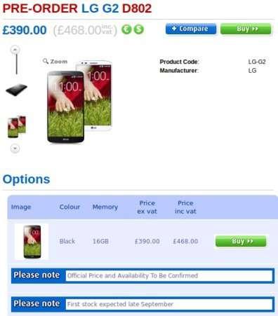 LG G2 precio en Clove UK