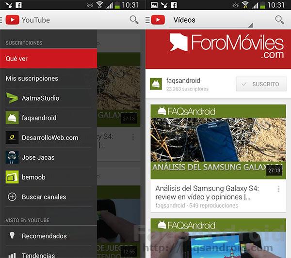 Video análisis de la versión 5.0 de la aplicación android de Youtube