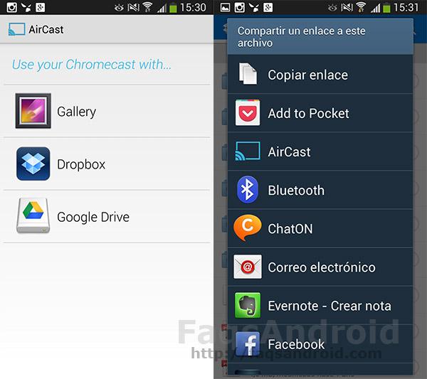 Aircast es una aplicación android que permite ver contenido en Chromecast