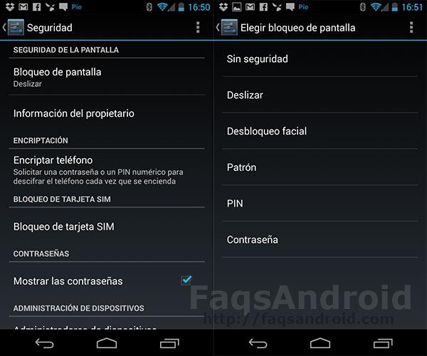 Cómo configurar el bloqueo en Android: pin, patrón, facelock…