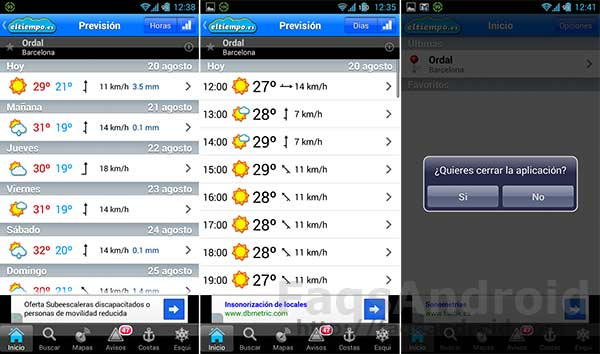 Las 5 mejores aplicaciones del tiempo para Android: Eltiempo.es