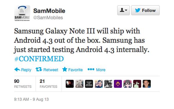 Se confirma que el Samsung Galaxy Note 3 llevará Android 4.3