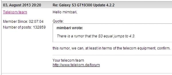 Deutsche Telekom confirma que el Samsung Galaxy S3 se actualizará directamente a 4.3
