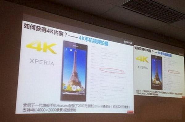 El sucesor del Xperia Z, el Sony Honami, grabará en 4K