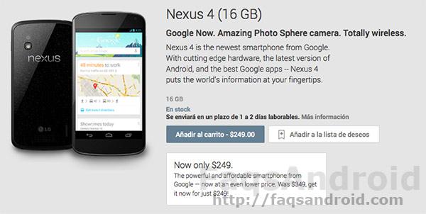 El Nexus 4 de 16 GB también se agota en el Google Play Store