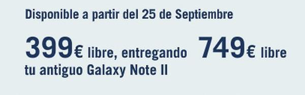 Samsung Galaxy Note 3 a 399 libre si entregas tu Galaxy Note 2