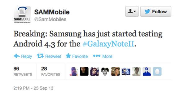 Samsung está probando ya la actualización a Android 4.3 del Galaxy Note 2