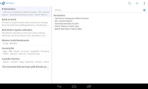 Simplenote, una sencilla app android para nota de notas