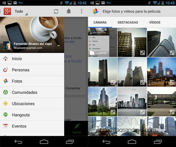 Google Plus ya permite hacer pases de diapositivas en android con música