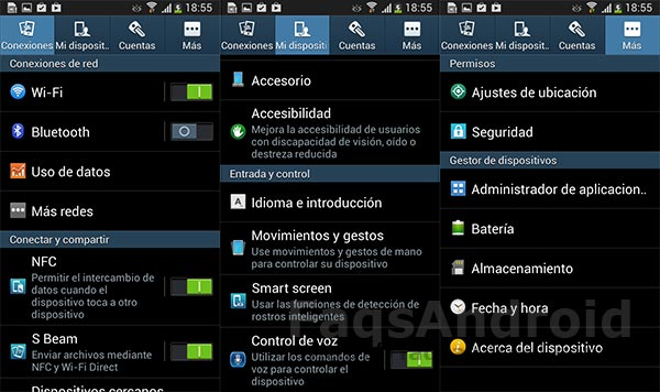 Ajustes Samsung Galaxy S4 Mini