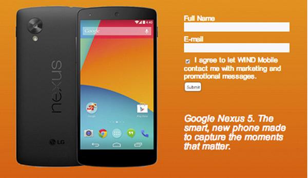 La operadora Wind Mobile publica el pre registro de compra del Nexus 5