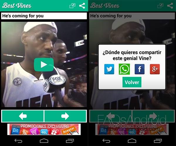 Los mejores vídeos de Vine en la aplicación android Best Vines