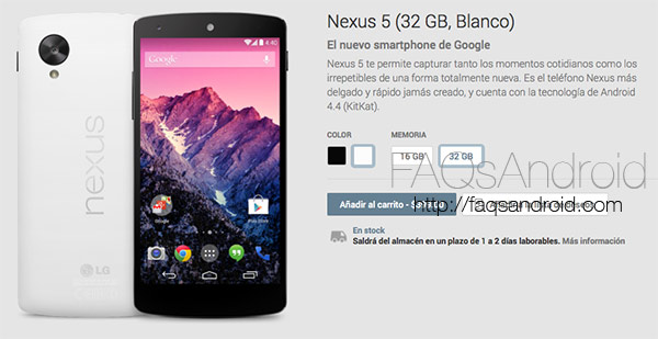 Nexus 5 de 16 GB para España y de 16 y 32 GB en Estados Unidos