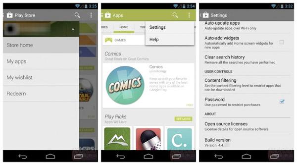 Se filtra la aplicación android 4.4 del Google Play Store
