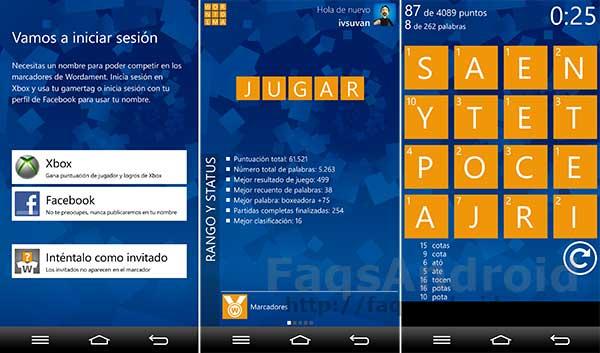 Wordament aterriza en Android