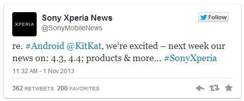Tweet Xperia actualizacion Kit Kat