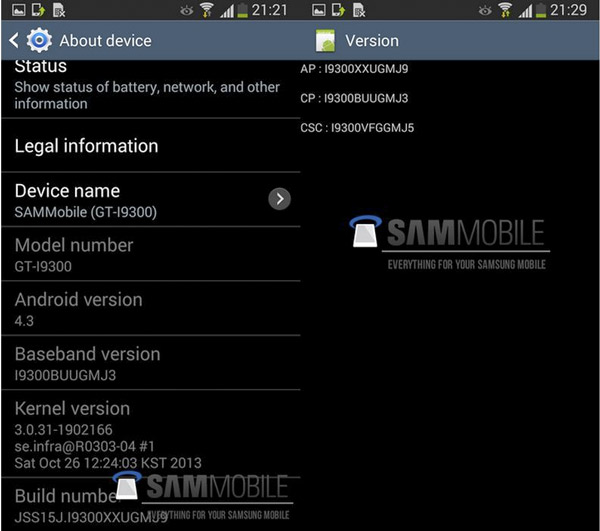 Se filtra la ROM oficial para actualizar Samsung Galaxy S3 a Android 4.3 Jelly Bean