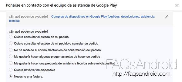 Cómo pedir una factura de un Nexus comprado en Google Play Store