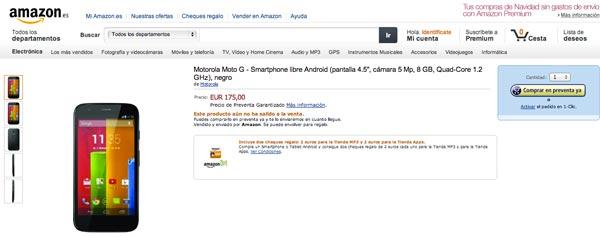 El Motorola Moto G aparece en Amazon España: agotada la preventa
