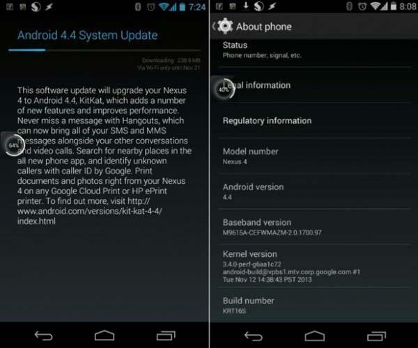 La actualización Kit Kat para el LG Nexus 4 ha comenzado