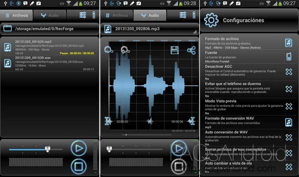 Las mejores aplicaciones para la grabación de sonido en Android: RecForge
