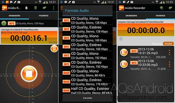 Las mejores aplicaciones para la grabación de sonido en Android: Miidio Recorder
