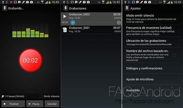Las mejores aplicaciones para la grabación de sonido en Android: Smart Voice recorder