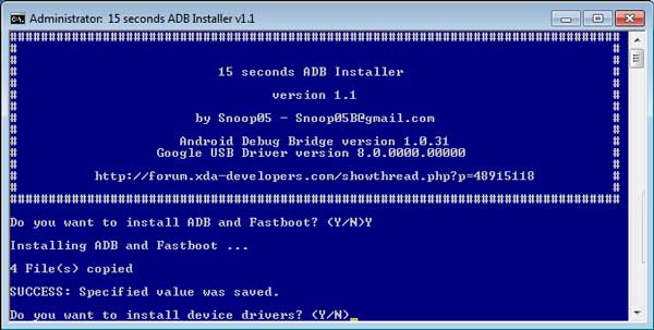 ADB Installer, instala en Windows ADB, Fastboot y drivers en 15 segundos