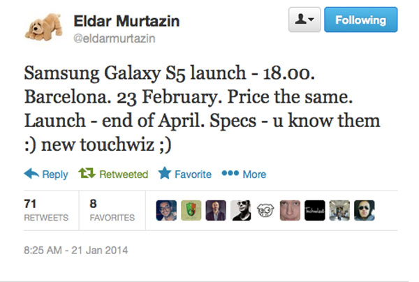 El Samsung Galaxy S5 se presentaría el 23 de febrero en el MWC
