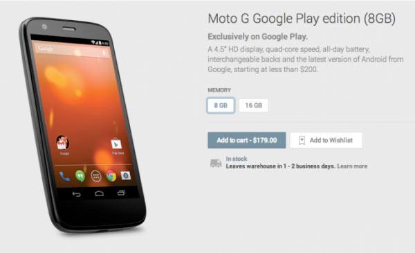 Ya está la versión Google Edition del Motorola Moto G en Google Play
