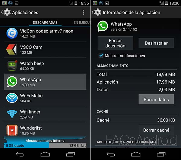 Liberar memoria de WhatsApp