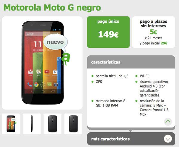 El Motorola Moto G más barato: 149 euros con Amena