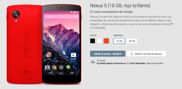 El Nexus 5 rojo brillante ya está disponible en Google Play