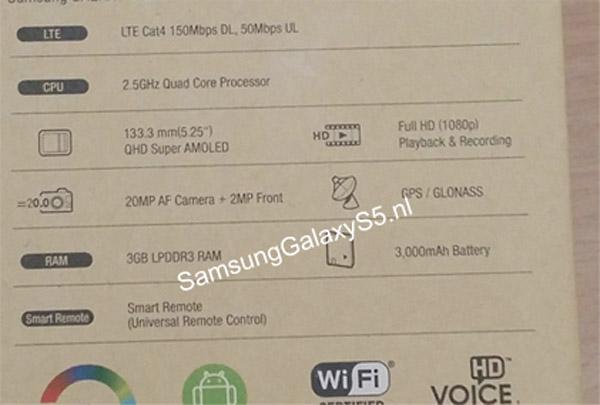 Características del Samsung Galaxy S5 según su caja