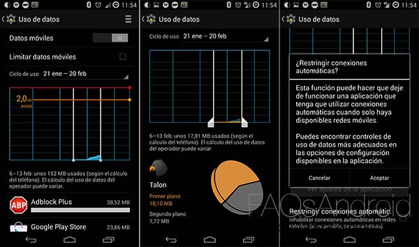 Maneras de limitar los datos en un móvil Android para gastar menos en tarifa