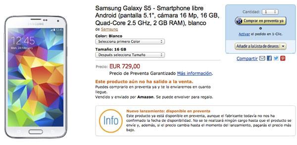 Según Amazon España el precio del Samsung Galaxy S5 será de 729 euros