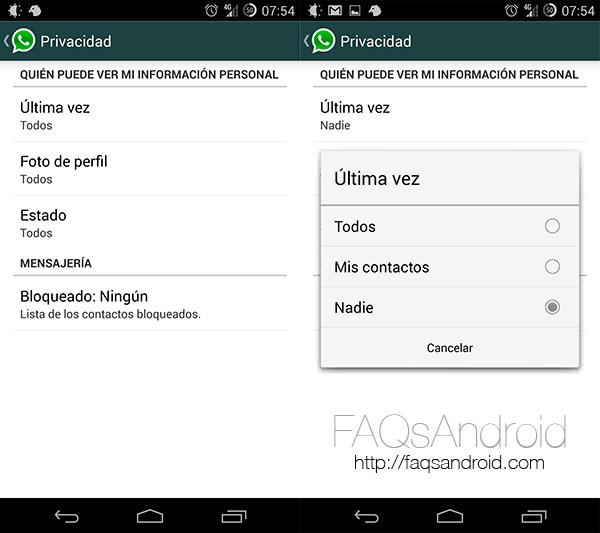 WhatsApp para android permite elegir quién puede ver la hora de la última conexión