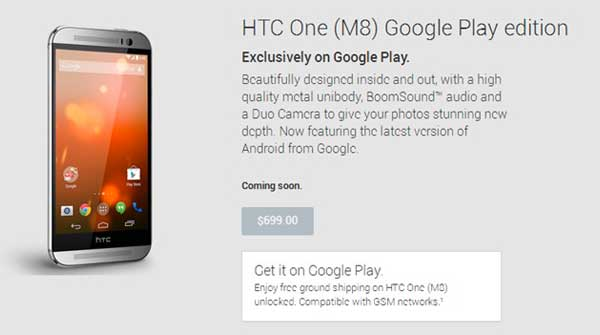 HTC One M8 Google Play Edition, 700 dólares y se venderá en USA