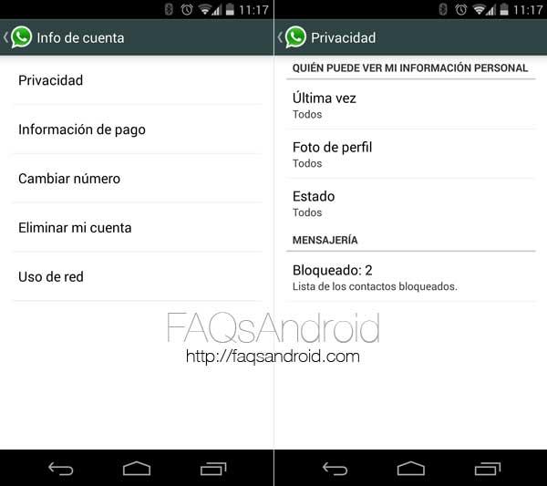 Nuevas opciones de privacidad en la última actualización de Whatsapp para Android