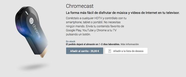 Ya se puede comprar el Chromecast en España por 35 euros