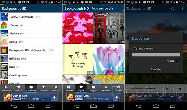 Cinco aplicaciones Android con las que cambiar los fondos de pantalla: Fondos HD