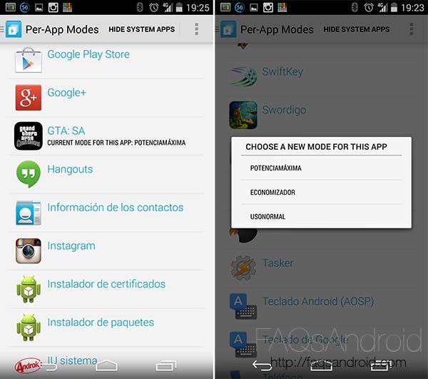 Per-App Modes, ajuste de velocidades de procesador para cada app por separado
