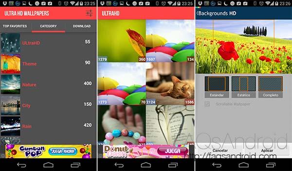 Cinco aplicaciones Android con las que cambiar los fondos de pantalla: Ultra HD Wallpapers