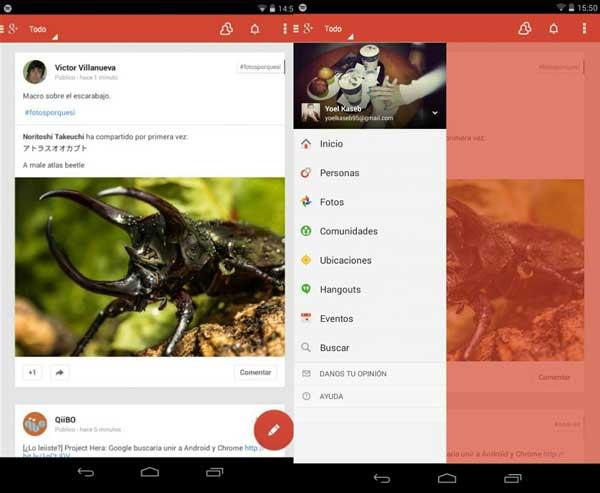 Capturas de pantalla filtradas muestran un importante rediseño de Google+ para Android