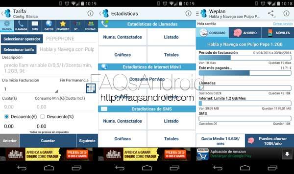 Análisis de Weplan, una aplicación Android para controlar nuestra factura telefónica