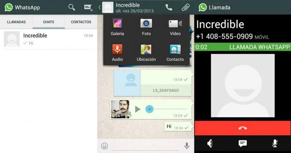 Filtradas las imágenes de la interfaz de las llamadas por WhatsApp