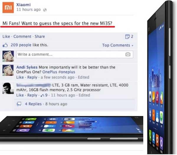 Confirmado el Xiaomi Mi3S de forma oficial, pero sin especificaciones